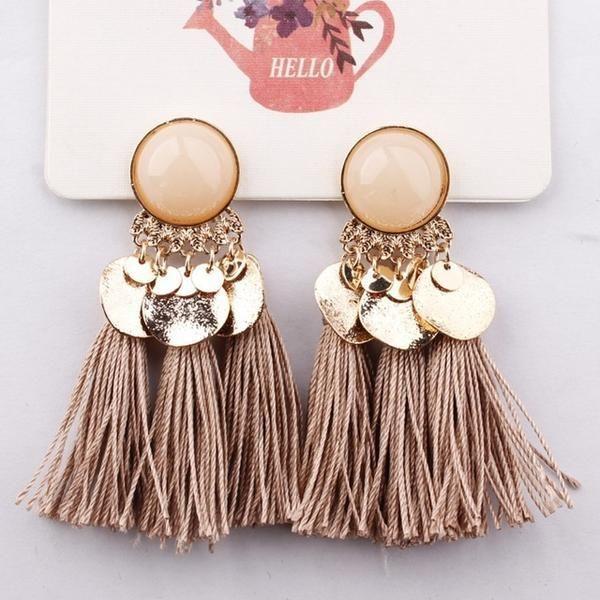ab29db2712d4 Dangle Drop Earrings Summer Round Resin Tassel Bohemia
