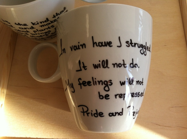 Mug with Mr Darcy's proposal from Pride and Prejudice by litsakiv, $18.00