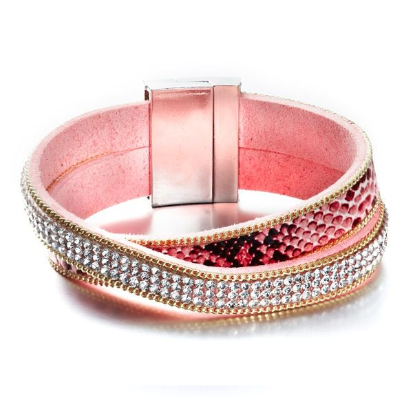 Bracelets 2 rangs swarovski elements rose