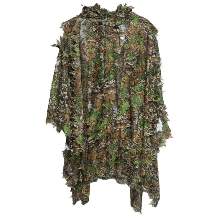 Hunting Ghillie Suit Set 3D Camo Bionic Leaf Camouflage Jungle Woodland Birdwatching Poncho Manteau Durable Hunting Clothing