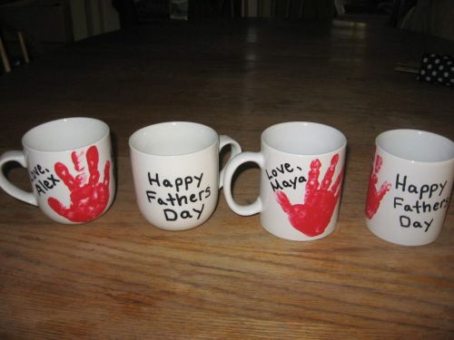 Use acrylic paint for the handprint. The paint washes off easily while wet if you make a mistake. Use paint pens to write Happy Fathers day. Spray or paint clear acrylic for durability (opt)Bake in a 350 degree oven for 30 minutes.