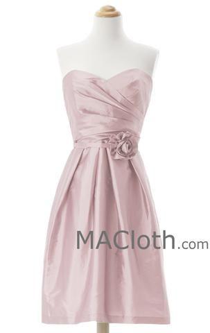 A Line Strapless Sweetheart Knee Length Pearl Pink Taffeta Bridesmaid Dress