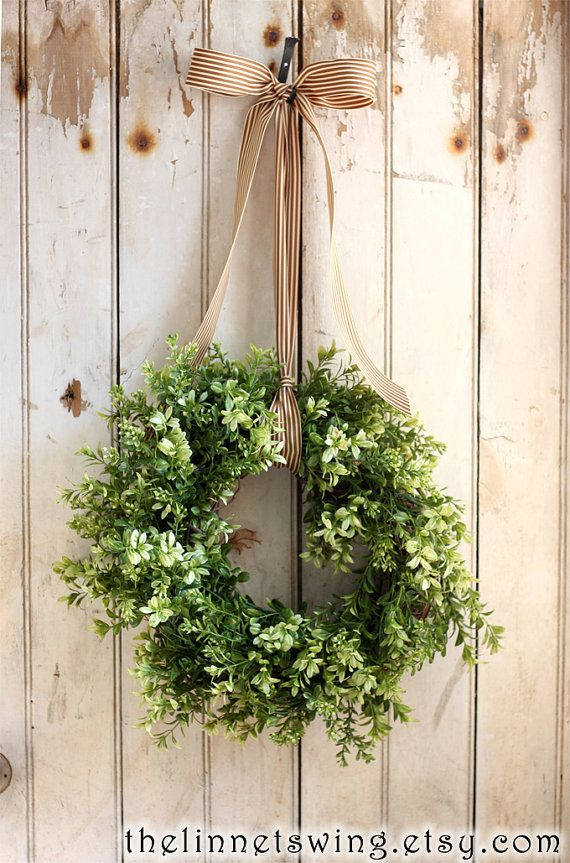 Large Boxwood Wreath Artificial Boxwood by TheLinnetsWing