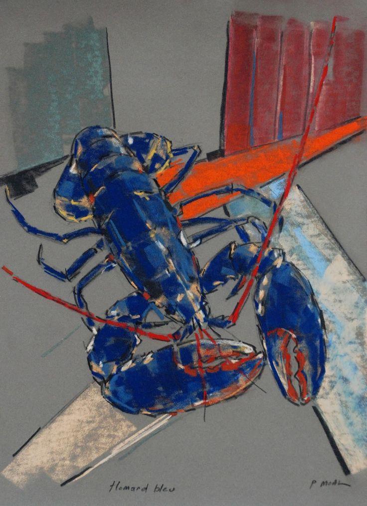 Paul Moal - Homard bleu - Pastel sec sur carton -