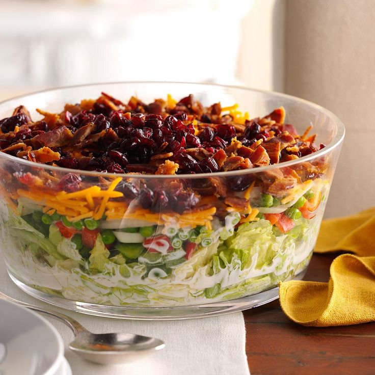 Overnight Layered Lettuce Salad Recipe -This layered salad is a family favorite from a church cookbook I've had for 40 years. The bacon adds a fabulous crunch. —Mary Brehm, Cape Coral, Florida