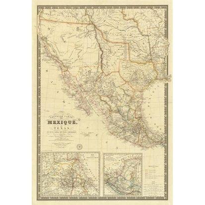 Nouvelle Carte Du Mexique, Du Texas, 1840 by Adrien Hubert Brue Maps Art Print