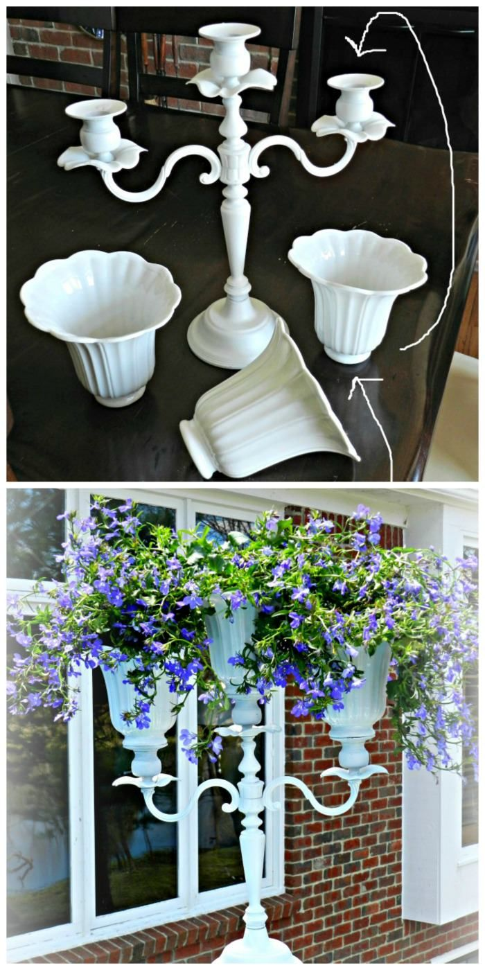 Check this out! She put ceiling fan shades on top of the candelabra to make a flower planter!