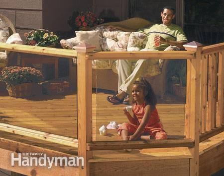 No-Maintenance Deck Railings:  Deck railings are available in a range of long-lasting materials, from wood/plastic composites to metal and glass. This article explains what's available and how these materials compare to wood. Read more: http://www.familyhandyman.com/decks/railing/no-maintenance-deck-railings/view-all