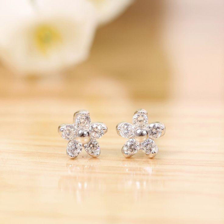 adtl sparkling tiny zirconia crystal five petals flower stud earrings 925 sterling silver earrings engagement