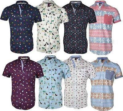 Mens Soul Star Hawaiian Holiday  Casual  Printed Floral Shirt Short Sleeved Stag