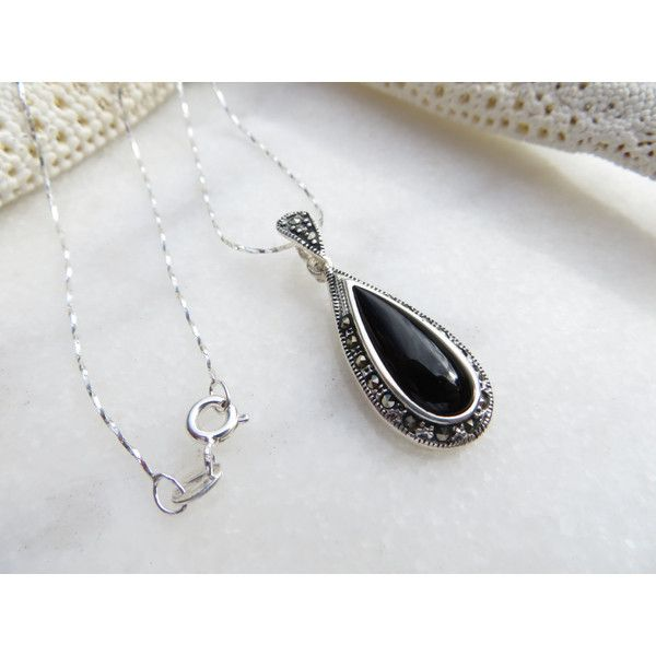 Black Agate Necklace, Sterling Silver Necklace, Marcasite Necklace,... (£61) ❤ liked on Polyvore featuring jewelry, necklaces, wrap necklace, pendant chain necklace, marcasite necklace, marcasite jewelry and black onyx necklace