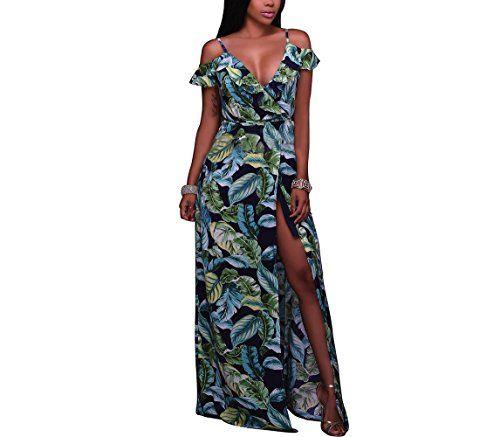 New LKOUS Women's Sexy Halter Floral Print Backless Maxi Dress Split Long Beach Dress online. Enjoy the absolute best in Senchanting Dresses from top store. Sku qzmp95339kvzd63385