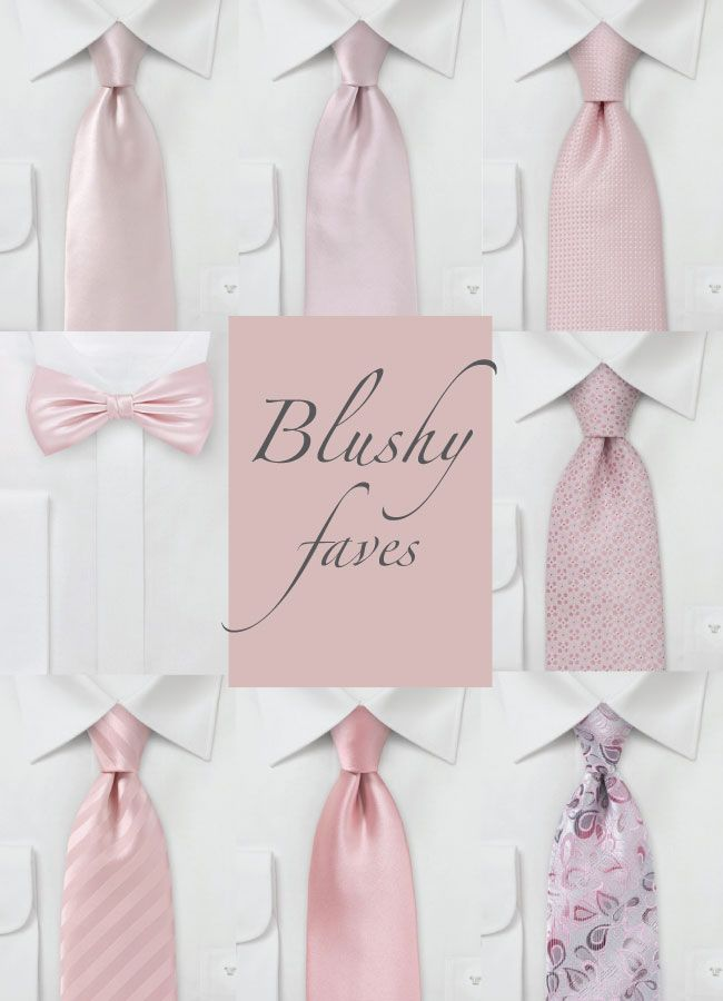 Our favorite Blush Colored Neckties & Bow Ties - Perfect for a dapper wedding party