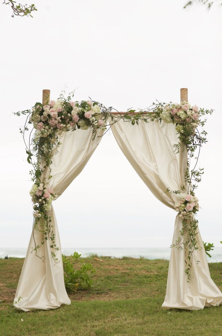 2 post bamboo arch with champagne shantung drape pinkwhite roses vines - Bamboo Canopy 2015