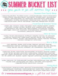 Summer Bucket List For Kids 2015