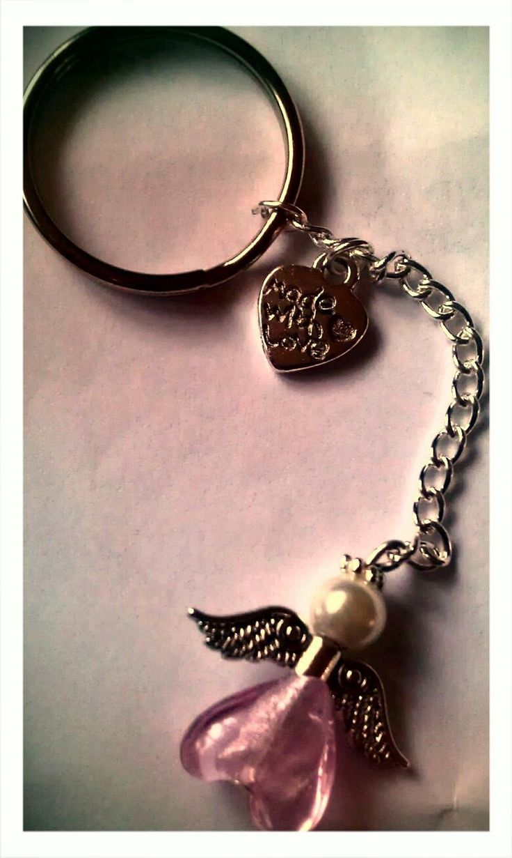 Pink angel keyring made with love