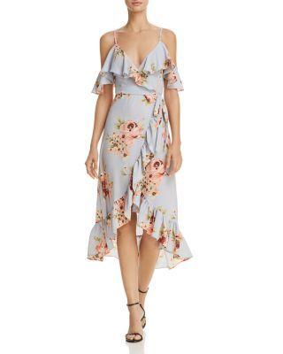 ea0043406a1a AQUA Floral Cold-Shoulder Faux Wrap Dress - 100% Exclusive ...