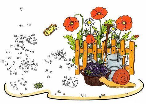 Wenn Ihr Kind die Zahlen von 1 bis 90 sinnvoll verbindet, erscheint ein Gartenzwerg, der eine Schubkarre schiebt, vor den Mohnblumen! Die Malen-nach-Zahlen-Vorlagen erhalten Sie für Ihr Kind gratis zum Download.