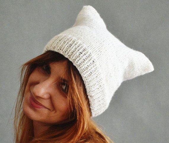 Creamy Cap Cat Hat Pussyhat White cat hat Unisex cat hat Cat