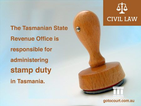 Stamp duty is a kind of levy or tax that is imposed in each of the States and Territories on certain kinds of transactions, commonly known as dutiable transactions.   Read more: Stamp Duty in Tasmania, Link: https://www.gotocourt.com.au/civil-law/tas/stamp-duty-in-tasmania/