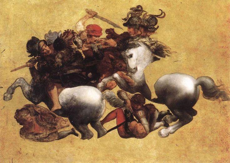 Battle of Anghiari. It was a 1440 Leonardo da Vinci mural in Palazzo Vecchio. Disappeared in 1563 when Giorgio Vasari restored space.