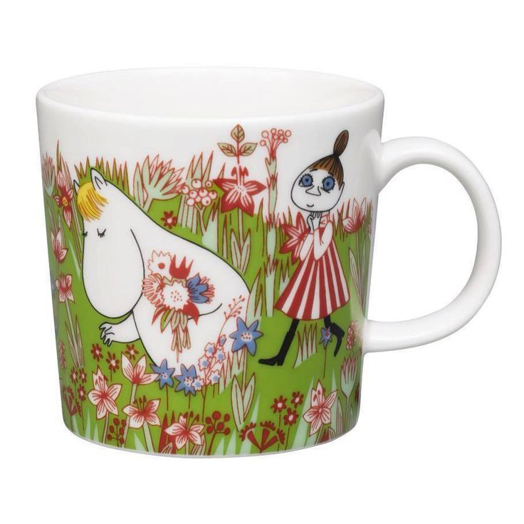 Moomin mug summer 2016 by Arabia, only made as a limited set. The design features Snorkmaiden, Mymble and Fillyjonk and is taken from Tove Jansson's book Moominsummer Madness. Arabian muumimuki kesä 2016 - Juhannus. Muki on saatavilla rajoitetun ajan.Mukin kuvitus on kirjasta Vaarallinen juhannus esittäen Niiskuneidin, Mymmelin ja Vilijonkan.  Mumin Säsongsmugg för sommar 2016 - Midsommar. Endast tillverkad i en begränsad upplaga. Designen för Midsommar kommer från boken Farlig Midsommar.