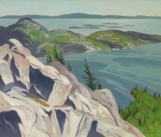 A.J. Casson - From the Heights Baie Fine 20 x 24 Oil on board (1949)