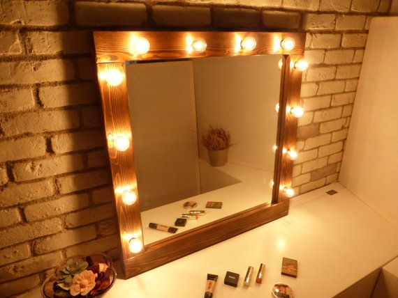 Hollywood mirror with lights - rustic mirror - makeup mirror - bathroom mirror - wooden mirror - farmhouse decor- bulbs not included