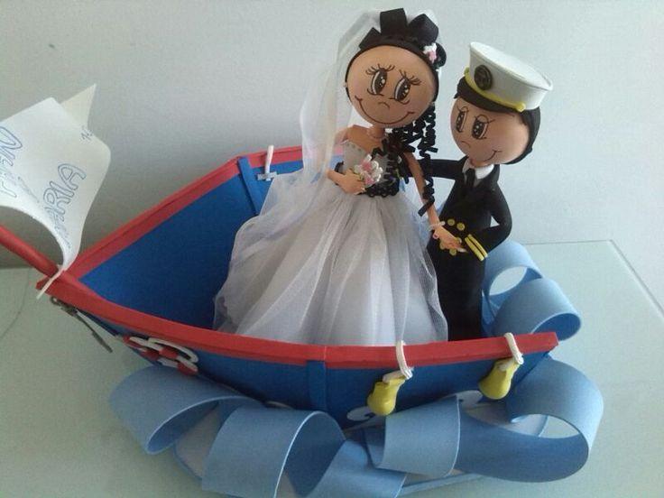 Fofucha pareja de novios marineros www.fofucakes.com