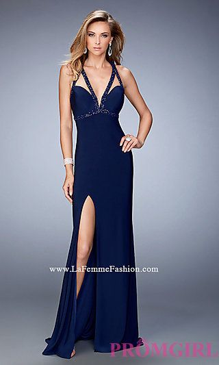 La Femme Open Back Prom Dress with Beaded Straps at PromGirl.com