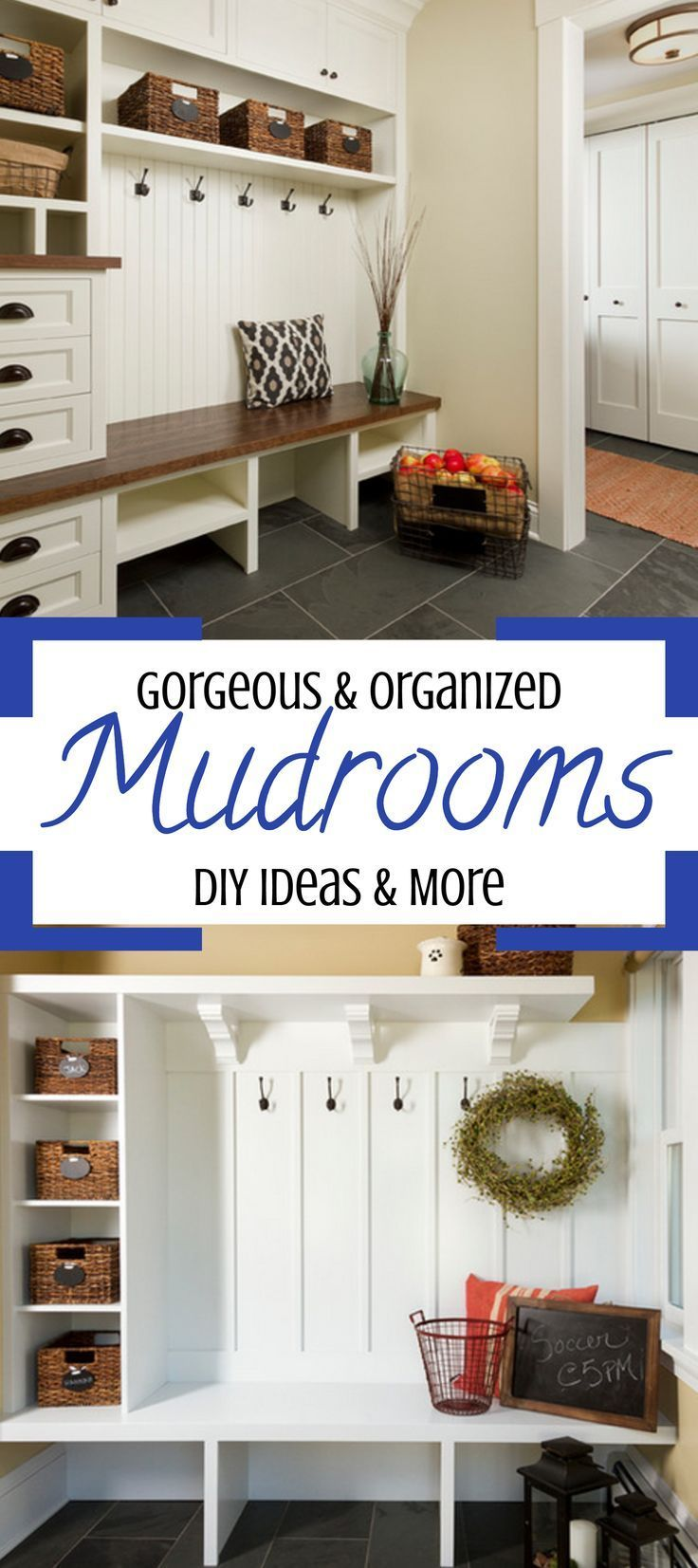 Rustic farmhouse DIY mudroom designs and mud rooms ideas we love… mudroom cubbies, cabinets, baskets, mudroom organization ideas and of course, mudroom benches, too. What great ideas for a mud room in your home.