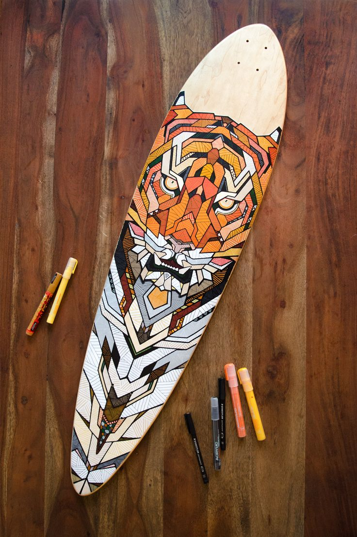 Hand-painted longboard by Andreas Preis // Tiger // www.designerpreis.com