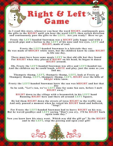 Welcome to SunnysideCottageArt and thank you for stopping by.  Add some fun and keep your family or guests entertained with this Christmas Right & Left story/game. Heres how it goes: Each family member, guest or friend has a present to exchange. Everyone sits in a circle as the story is read. They follow the directions below: As I read this story, whenever you hear the word RIGHT, continuously pass the gifts to the RIGHT until you hear the word LEFT, then switch direction and continuously pa...