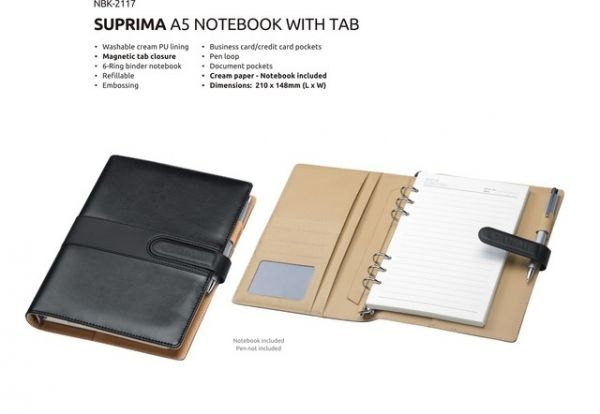 A5 Suprima Notebook Suprima Notebook with Tab Closure Washable Cream PU Lining Magnetic Tab Closure 6-Ring Binder Notebook Refillable Business/ Credit Card Pockets Pen Loop Documnet Pockets Cream Paper – Notebook Inlcuded Brand by Embossing Dimensions : 210 × 148 mm (L x W) Colours : Black