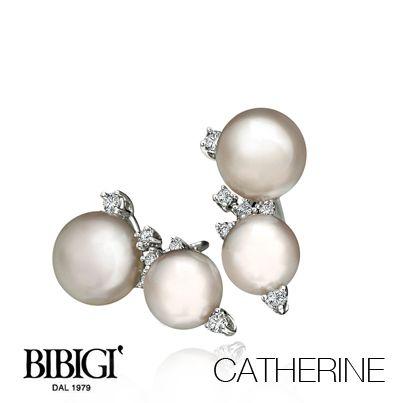 #Bibigi | Collezione #Catherine | Orecchini in oro bianco, perle e diamanti