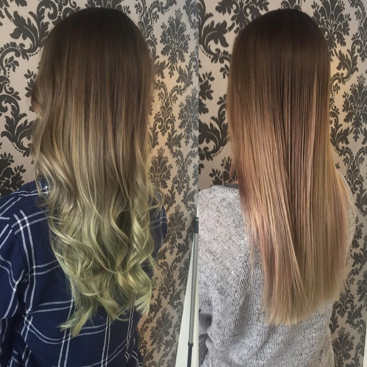 Mint choc chip ombre VS natural smokey beige Hair By Marianna