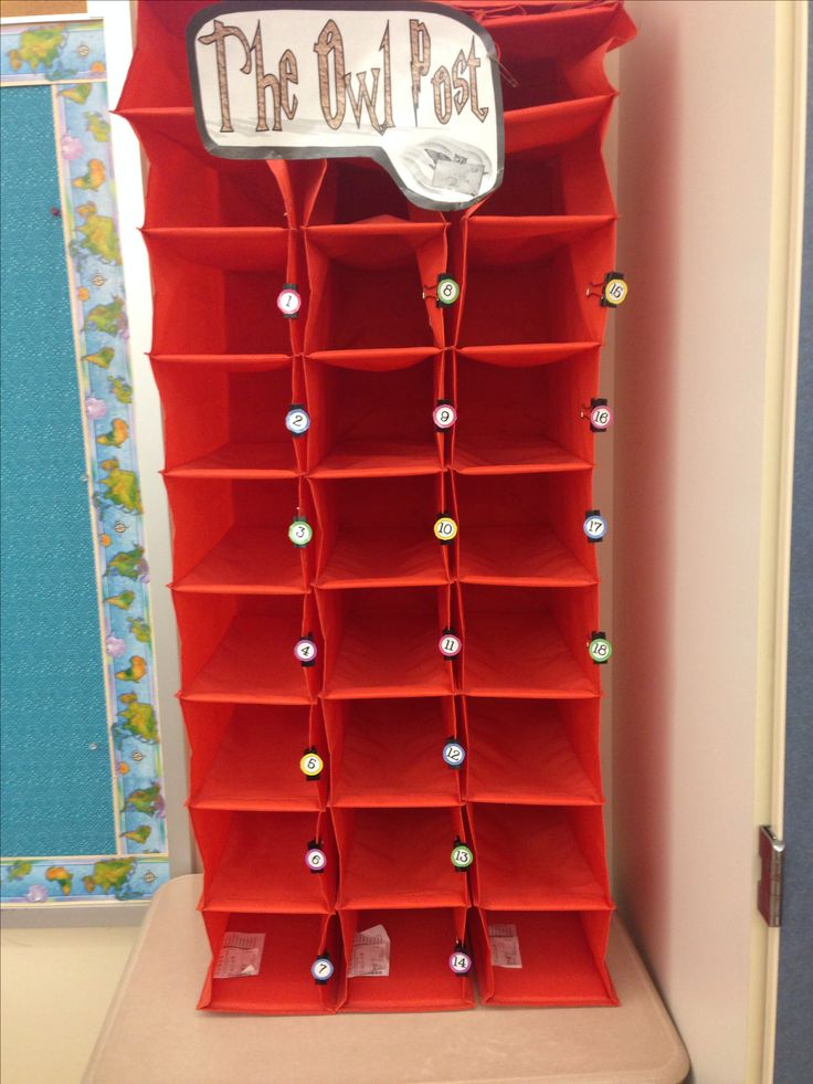 "My classroom mailboxes. Bought hanging shoe organizers from IKEA 5 years ago for $2.50 each, pinned them up with giant push pins, put binder clips on them with student numbers...and they have lasted me ever since! Love and so easy for my ""Owl Post Carrier"" to fill!"