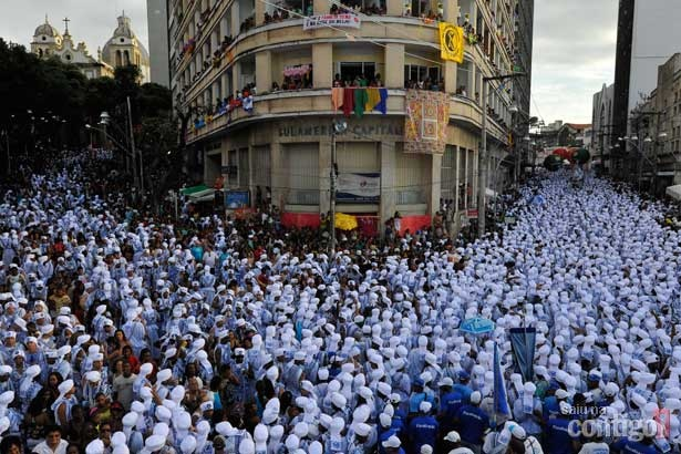 Filhos de Gandhi in Carnaval at Salvador, Bahia, Brazil.