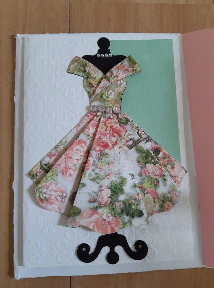 Открытка к 8 марта платье оригами
