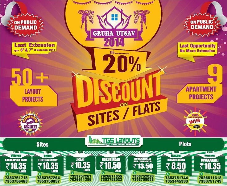 One more chance for all Bangaloreans who missed last time to buy Bengaluru Plots, Lands & Sites at affordable prices. Go through the Blog Post for more information about Offers & Discounts. #GruhaUtsav2014