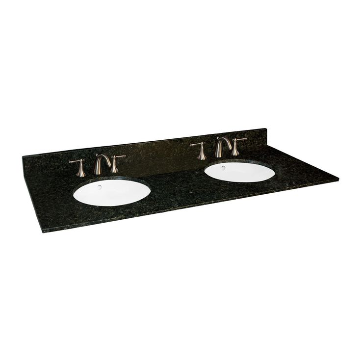 Contemporary Art Sites  x Granite Vanity Top with Double Undermount Sinks
