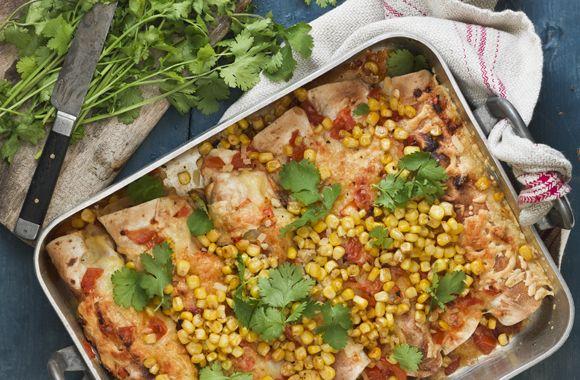 Enchiladas med hytteost og ristet majs