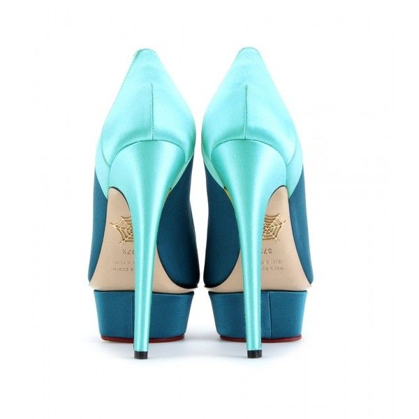 Charlotte Olympia Masako Satin Platform Pumps ($448) ❤ liked on Polyvore featuring shoes, pumps, heels, high heels, charlotte olympia, high heel pumps, teal high heel shoes, platform shoes, teal pumps and teal platform pumps