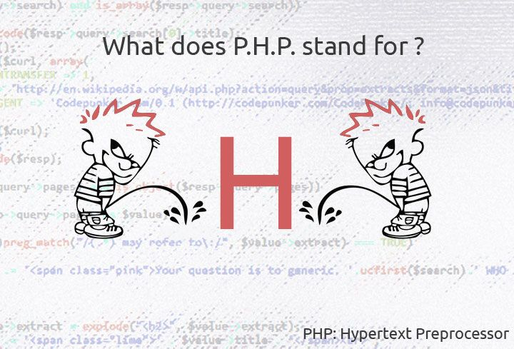 The CodePunker is always asked about what PHP stands for.  Originally created by Rasmus Lerdorf, PHP originally stood for Personal Home Page. Now it means PHP: Hypertext Preprocessor - a recursive backronym.  Once you see this image you will never forget that anymore! OK ?  #php, #webdevelopment, #webdesign