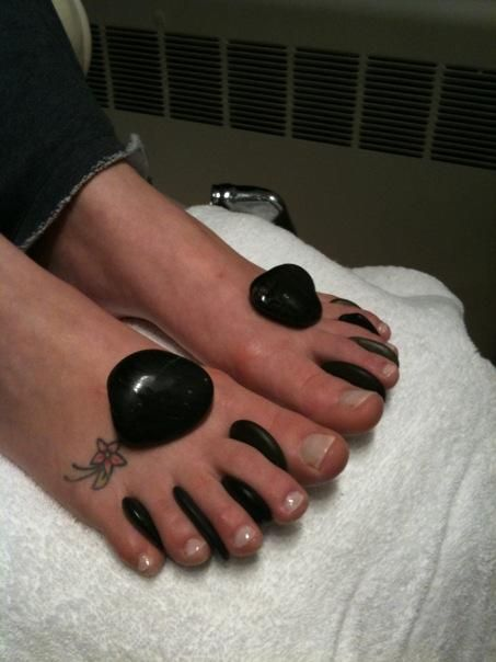Pamper your feet with a warm, soothing, hot stone pedicure and feel yourself melt away..