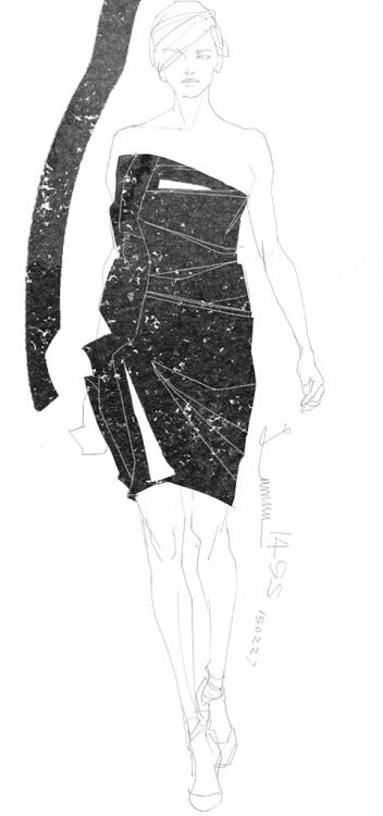 Today's Drawing 150227. The sample photo via internet. Lanvin 2014/SS/Pre