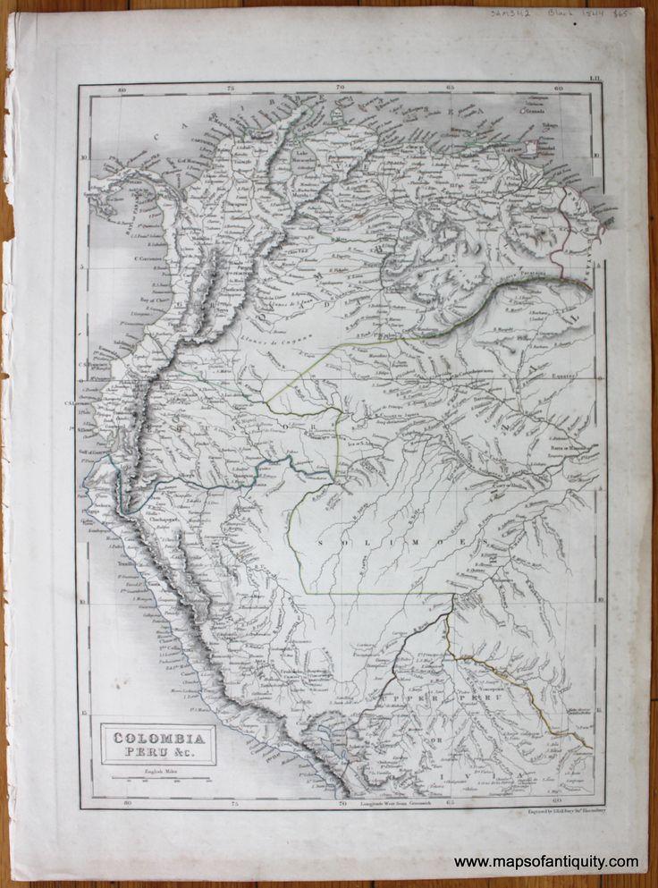 Antique (1844) Map of part of South America including Colombia, Venezuela, Guyana, part of Brazil, Ecuador, Peru, and Bolivia.