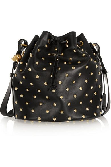 ALEXANDER MCQUEEN Padlock Secchiello studded leather shoulder bag