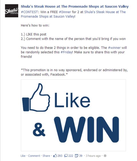 Facebook New contest rules