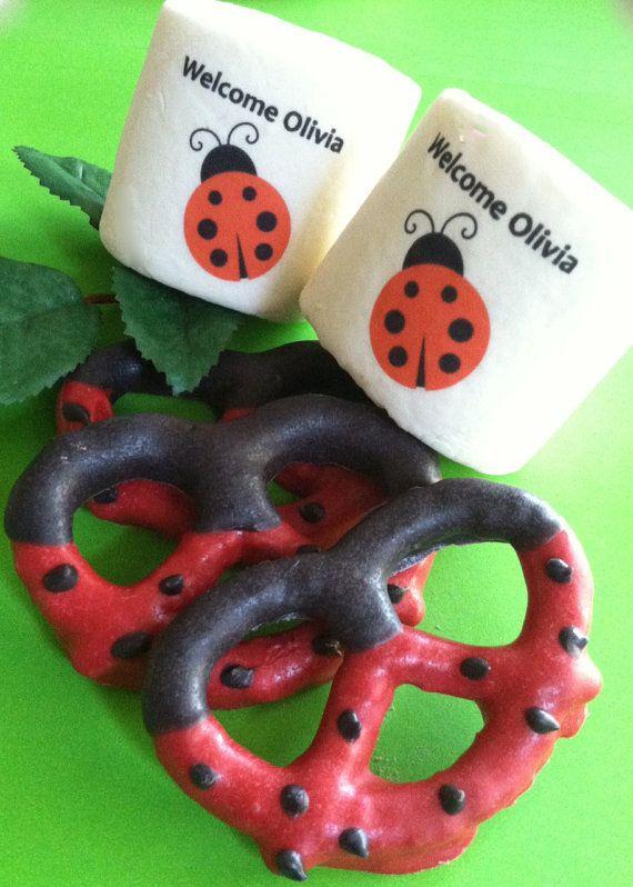 Lady bug pretzels and jumbo marshmallows 24 pc jumbo personalized marshmallows pretzels & by FeteSetter, $35.00